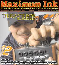 Mix Master Mike and his Moog pedal of the Beastie Boys on the cover of Maximum Ink - photo by Dustin Rabin