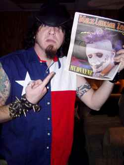 Mudvayne vocalist Chud, with himself on the cover of Max Ink - photo by Phil Hunt