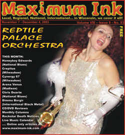 Anna Purnell of the Reptile Palace Orchestra on the cover of Maximum Ink in November 2003 - photo by Andrew Frey