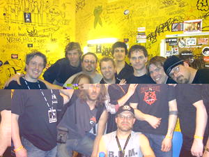 Last Crack backstage at Headway: L-R clockwise: Freek, DJ, Jeremy, Grieser, Donny B, Buddo, Pablos, Ski, R�kker, Jared