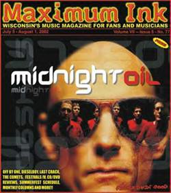 Midnight Oil on the cover of Maximum Ink in July 2002