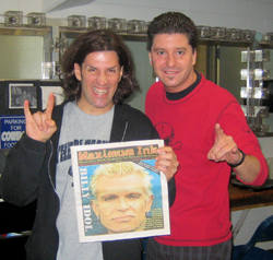 Anthrax's Frank Bello pictured with Maximum Ink's Jeff Muendel, photo by Rich Johson