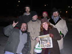 Asylum Street Spankers holding Maximum Ink, photo by Brett Lemke